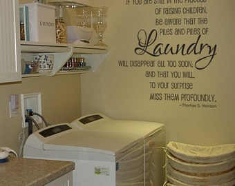 Laundry piles laundry room vinyl wall decal quote