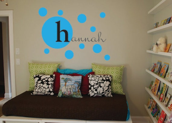Name personalized monogram with polka dots wall decal