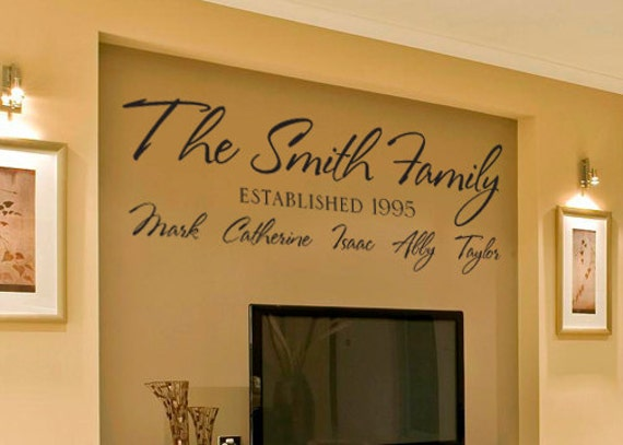 Items Similar To Personalized Family Name Vinyl Wall Decal
