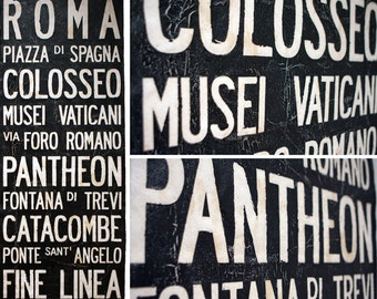 "ROME Bus Scroll - Large Vintage Bus Subway Scroll Custom hand painted and distressed on high quality artist canvas, ready to hang 22"" x 59"""