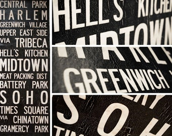 "NEW YORK, NY Vintage Bus Scroll - Vintage Subway Art, Tram Scroll. Hand painted and distressed on high quality canvas 12"" x 30"""