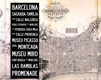 """BARCELONA BUS SCROLL - Subway Art, Tram Scroll, Destination Roll - Hand painted and distressed on artist canvas, ready to hang 22"""" x 59"""""""