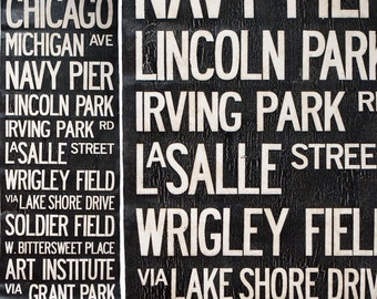 """CHICAGO BUS SCROLL - Subway Art, Tram Scroll, Destination Roll - Hand painted and distressed on artist canvas, ready to hang 22"""" x 59"""""""