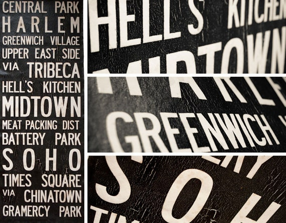 """Large NEW YORK, NY Vintage Bus Scroll - Vintage Subway Art, Tram Scroll. Hand painted and distressed on high quality canvas 22"""" x 59"""""""