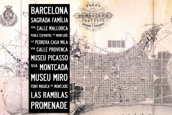 "BARCELONA BUS SCROLL - Subway Art, Tram Scroll, Destination Roll - Hand painted and distressed on artist canvas, ready to hang 22"" x 59"""