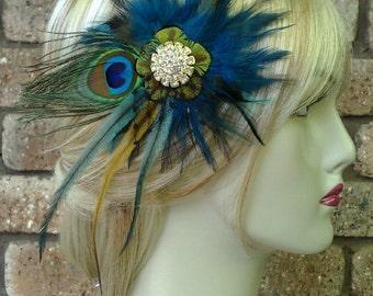Peacock Bridal Fascinator, Bohemian Wedding Headpiece, Teal Feather Fascinator, Boho Hair Clip, Peacock Wedding Hair Clip, ALEXIA