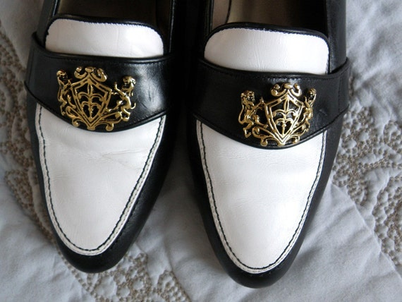 vintage italian black and white VAN ELi shoes (size 7&1/2 N) FREE SHIPPING