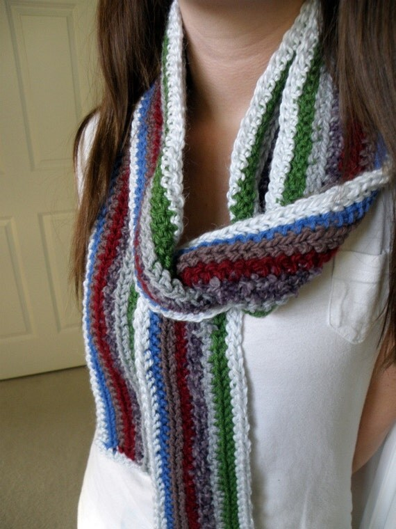Hand-Crocheted Striped Multicolor Unisex Scarf FREE SHIPPING