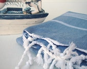 Cobalt Blue & White or Any Other Color You Like / Traditional Hand Woven Cotton Turkish Bath Towel - Peshtemal