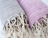 Set of 2 / Traditional Handwoven Cotton Turkish Bath Towel - Peshtemal / Lilac and Grey