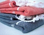 Set of 2 / Coral - White & Grey- White / Traditional Hand Woven Cotton Turkish Bath Towel - Peshtemal