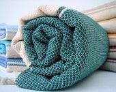 Traditional Handwoven Cotton Turkish Bath Towel / Pine Green - Cream