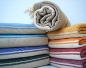 Traditional Handwoven Cotton Turkish Bath Towel / Beige- Cream