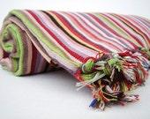 Multicolor Stripes  / Traditional Handwoven Cotton Turkish Bath Towel - Peshtemal