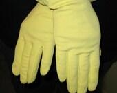 Vintage Gloves 1950s  Lemon Yellow Nylon
