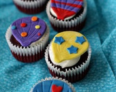 Hot Air Balloon Fondant Toppers for Decorating Cupcakes, Cookies, Brownies or other Treats