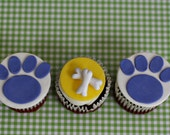 Fondant Dog Bone and Paw Print Toppers for Cupcakes, Cookies or other Treats