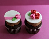 Fondant Rose Toppers for Elegant Cupcakes, Cookies or Mini-Cakes