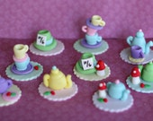 Fondant Wonderland Tea Party Toppers with Teapots, Teacups, Mushrooms and Hats for Decorating Cupcakes or Cookies