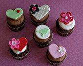 Fondant Heart Love Flower Toppers for Decorating Cupcakes, Cookies or other Sweet Treats