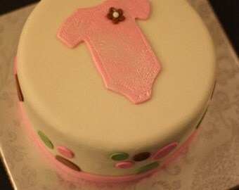Fodant Baby Onesie Romper Topper and Polka Dots to Decorate a Baby Shower, Baptism or Other Special Celebration Cake