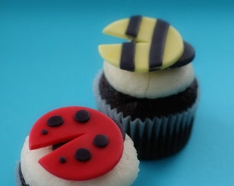 Fondant Ladybug and Bee Toppers for Cupcakes, Cookies or Mini-Cakes Perfect for a Summer Celebration or Picnic