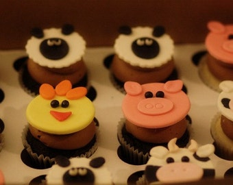Farm Animals Fondant Toppers Chickens, Pigs, Cows and Lambs for Cupcakes, Cookies, Brownies or MiniCakes