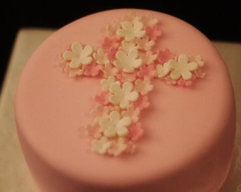 Fondant Flowers with Sparkle for Cupcakes, Cookies or Cake Decoration Perfect for Birthdays or Baptisms