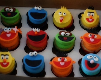 Fondant Sesame Street Character Inspired Cupcake, Cookie or Mini-Cake Toppers