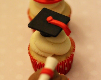 Fondant Graduation Toppers Including Caps, Diplomas and Your School's Logo for Decorating Cupcakes, Cookies or Mini Cakes
