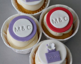 Wedding Cake and Monogram Fondant Toppers for Engagement, Shower or Wedding Cakes or Cookies