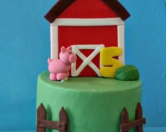 Fondant Barn Yard Farm Cake Decorations for Decorating a Birthday or Other Special Cake