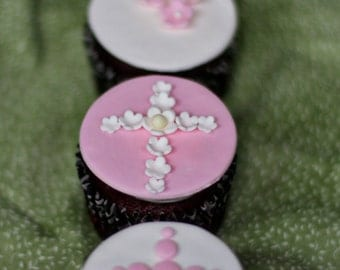 Fondant Baptism Communion Cross and Flower Toppers for Decorating Baptism Celebration Cupcakes, Cookies or Brownies