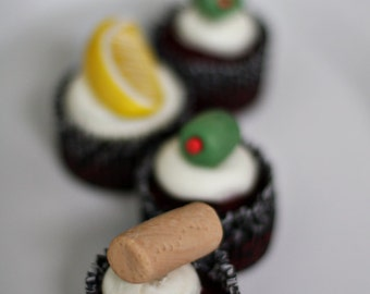 Fondant Cocktail Lemons, Olives and Wine Cork Toppers for Decorating Cupcakes, Cookies or Brownies
