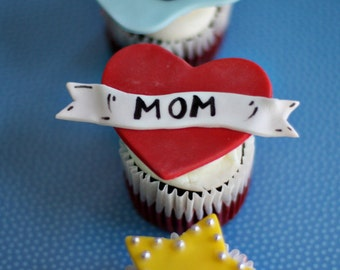 Rock Star Fondant Mom Heart Tattoos, Guitars, Onesies and More Toppers for Cupcakes or Cookies for your Baby Shower