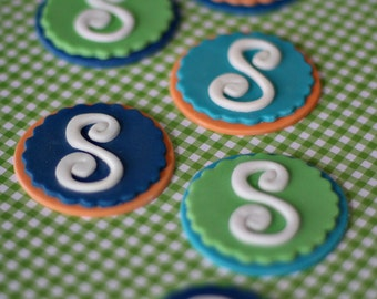 Monogram Fondant Toppers Personalized with Initial or Age for Cupcakes, Cookies or Other Treats
