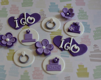 Engagement Wedding Fondant Toppers for Cupcakes or Cookies: Rings, Tiered Cakes, and I-Do Hearts for Engagements, Bridal Showers or Weddings