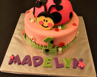 Ladybug Fondant Ladybug Cake Topper with Matching Flowers, Age and Name Cake Decorations Perfect for a Ladybug Party