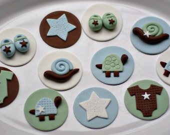 Baby Shower Fondant Turtle, Snail, Onesie, Booties and Star Toppers for Cupcakes, Cookies or Mini-Cakes