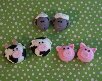 Farm Animals Fondant Toppers 3D Cow, Sheep and Pig Heads for Cupcakes, Cookies, Brownies or MiniCakes