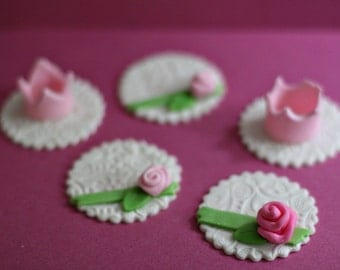 Princess Fondant Rose and Crown Toppers for Cupcakes, Cookies or Mini-Cakes