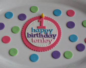 Happy Birthday Topper and Polka Dots Perfect for a Smash Cake or Birthday Cake