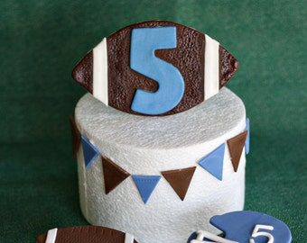 Fondant Football, Helmet, and Pennant Cake Decorations and Coordinating Cupcake Toppers