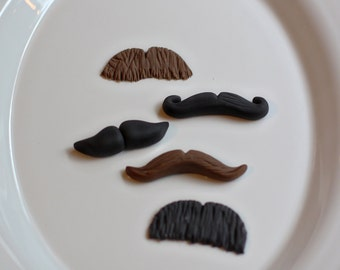 Mustache Moustache Fondant Toppers for Cupcakes, Cookies or Mini-Cakes