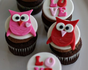 Owl and Love Toppers for Decorating Cupcakes, Cookies or other Sweet Treats