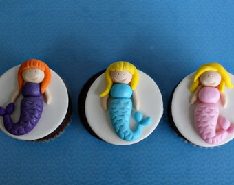Fondant Mermaid Under the Sea Toppers for Decorating Cupcakes, Cookies or Brownies
