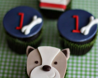 Puppy Dog, Bone, and Age Fondant Cupcake Toppers for Your Puppy Dog Party