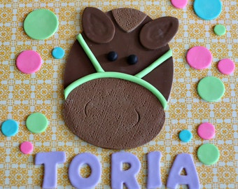 Fondant Horse, Polka Dot and Name Cake Decorations Perfect for a Birthday Cake