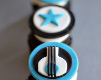 Guitar, Rock Star, Age Toppers for Cupcakes, Cookies or Brownies for your Little Boy's Party