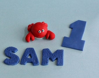 Fondant Crab, Age and Name Fondant Cake Decorations Perfect for a Smash Cake or Birthday Cake